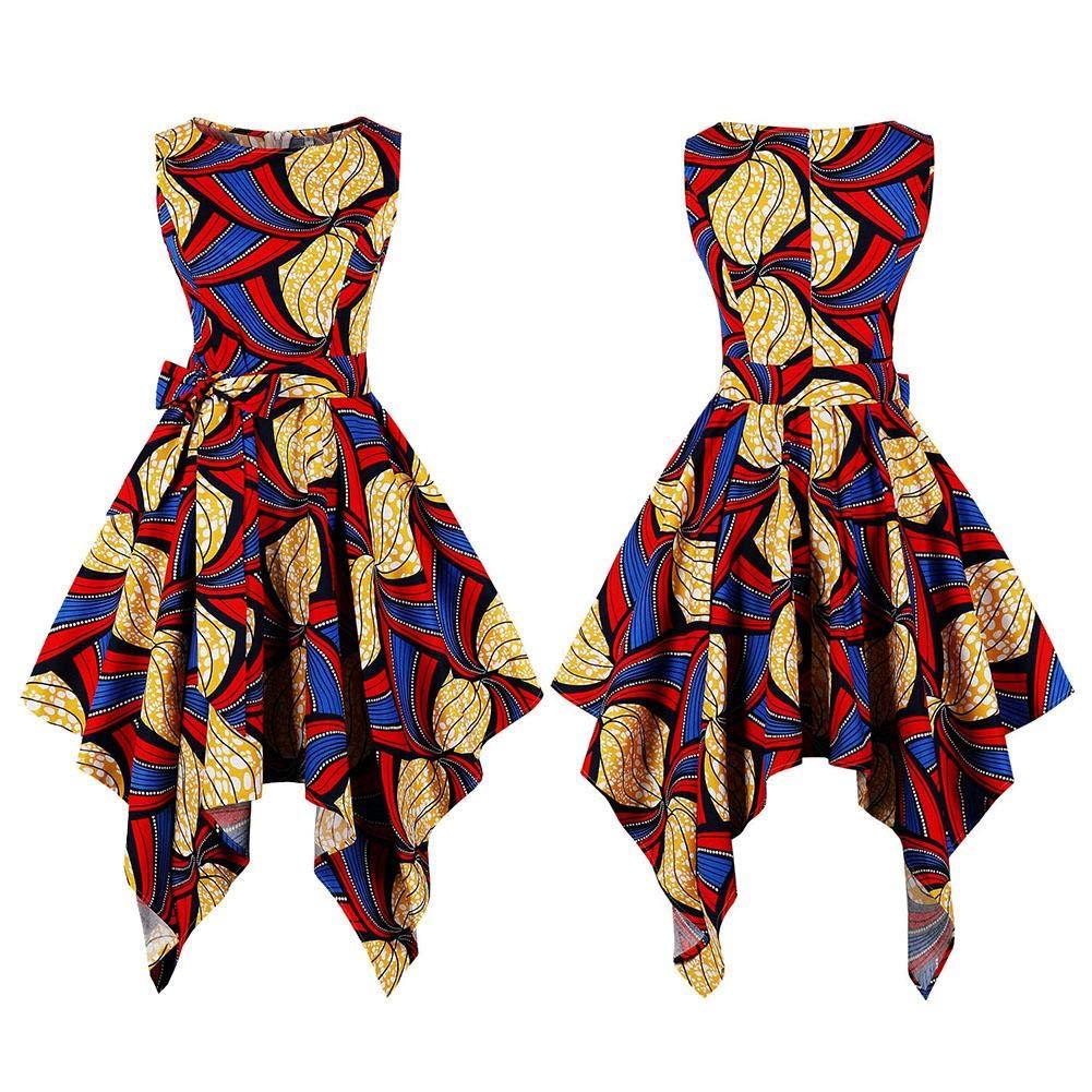 Style Ethnique Femmes Vintage Imprimer Col Rond sans Manches Robe Irr/éguli/ère