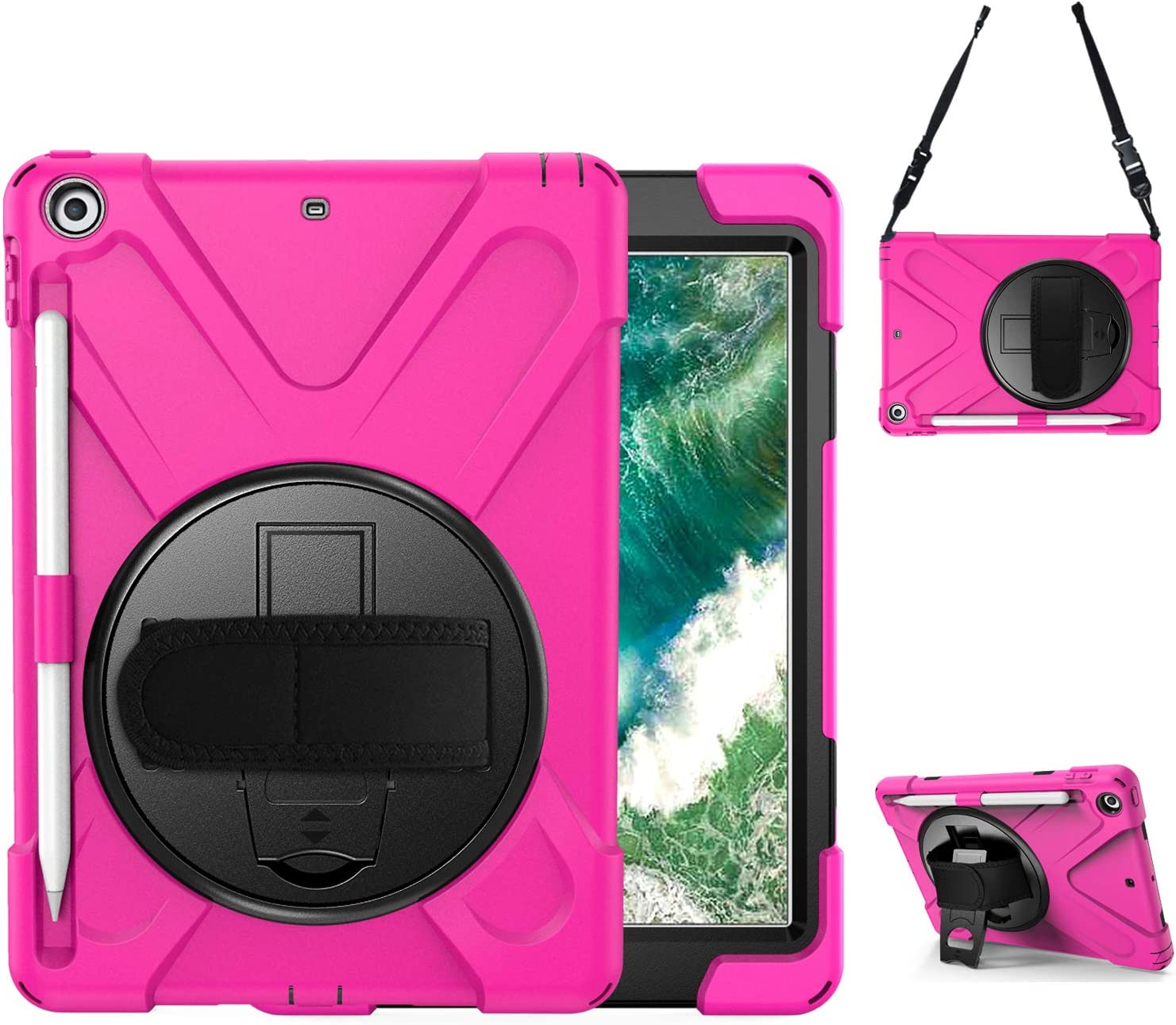 BRAECN iPad 2018 Case, iPad 9.7 Case - Hybrid Protective Shockproof Rugged Kids Case with Pencil Holder, Kickstand, Hand Strap and Shoulder Strap for iPad 9.7 Inch 6th 5th Gen 2018/2017 Tablet -Rose