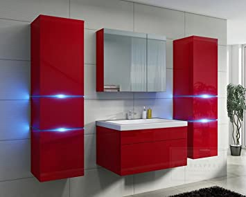 Badezimmer Rot Hochglanz mit Siphon✓ Echt lackiert ✓ Schublade ...