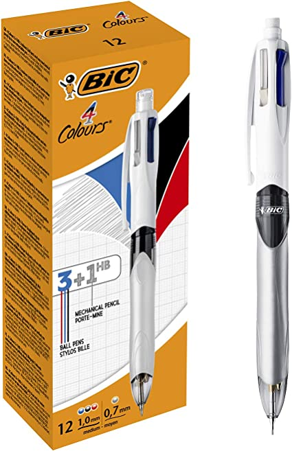 BIC 4 colores 3+1HB Bolígrafo y Portaminas – Caja de 12 unidades: Amazon.es: Oficina y papelería