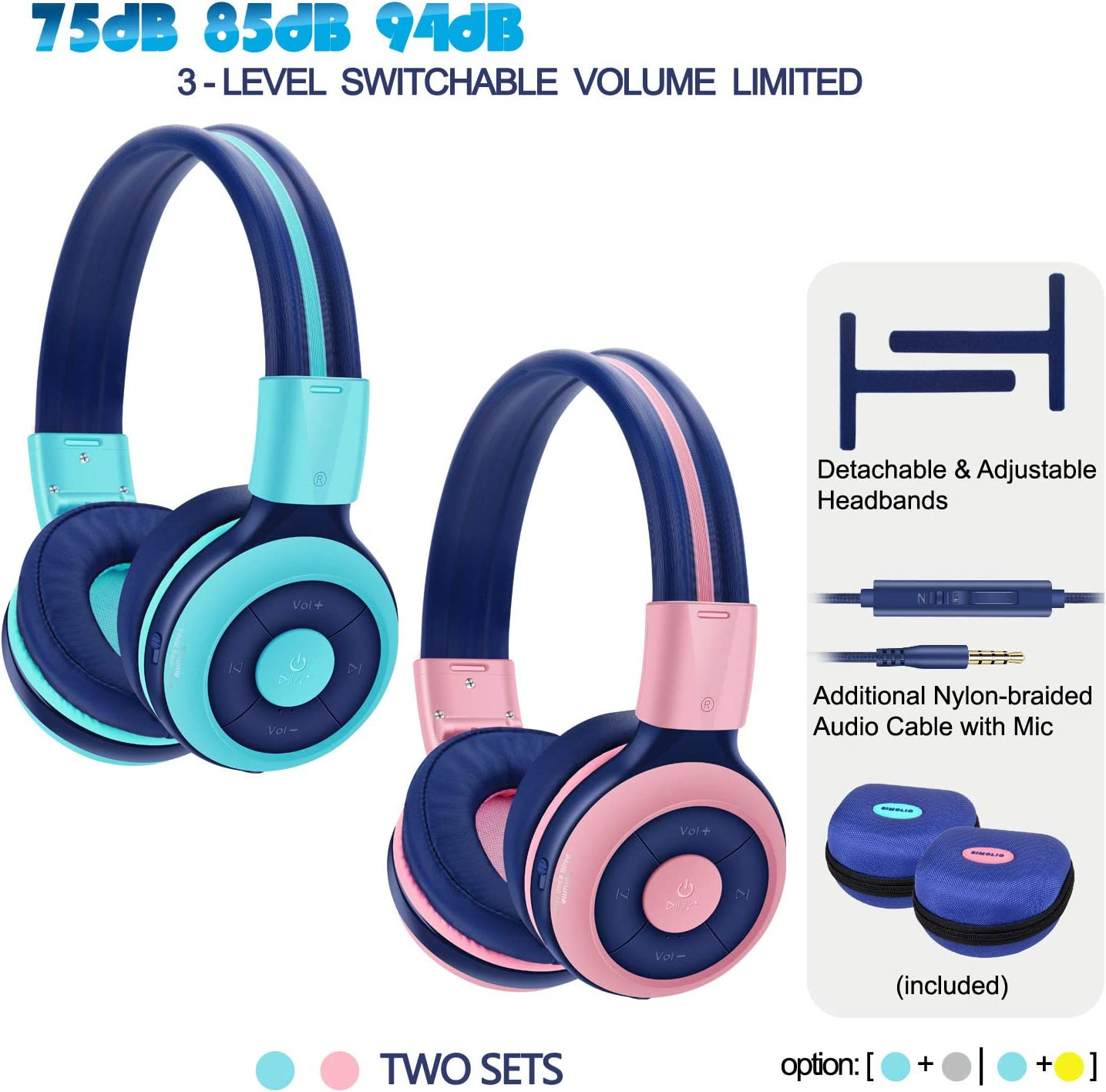 2 Pack of SIMOLIO Wireless Bluetooth Headphones for Kids with 75dB,85dB,94dB Volume Limit, Kids Headphone with Mic Hard Case, Children Headphones with Share Jack for Girls Boys,Toddlers Pink Mint
