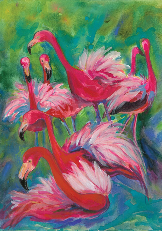 Toland Home Garden Flamingo Fancy 12.5 x 18 Inch Decorative Colorful Tropical Pink Bird Garden Flag