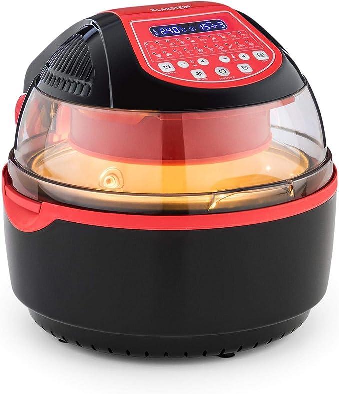 Klarstein VitAir Turbo S Freidora sin aceite - Freir, asar, tostar, 1400W, 10L, 20 programas, Temperatura 50-250 °C, Pantalla LCD, Bloqueo de tapa, Señal acústica, Set de accesorios, Rojo: Amazon.es: Hogar
