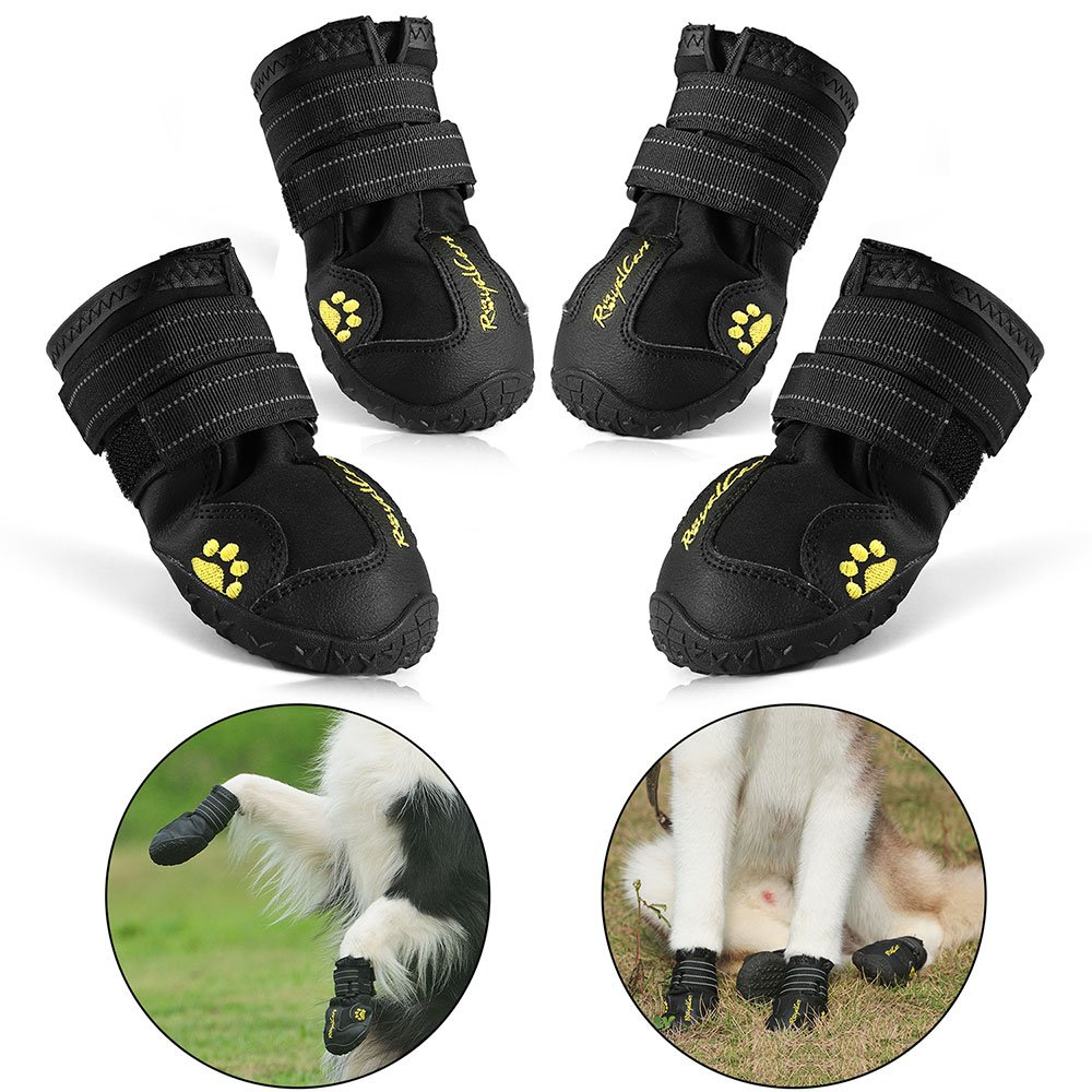 RoyalCare Protective Dog Boots, Set of 4 Waterproof Dog Shoes for Large Dogs - Black (8#)