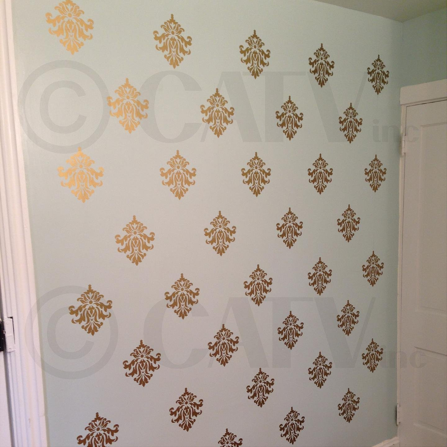 Amazon.com: Damask Set Of 18 Vinyl Wall Decal Self Adhesive Wall Pattern  Stickers (Gold): Home U0026 Kitchen