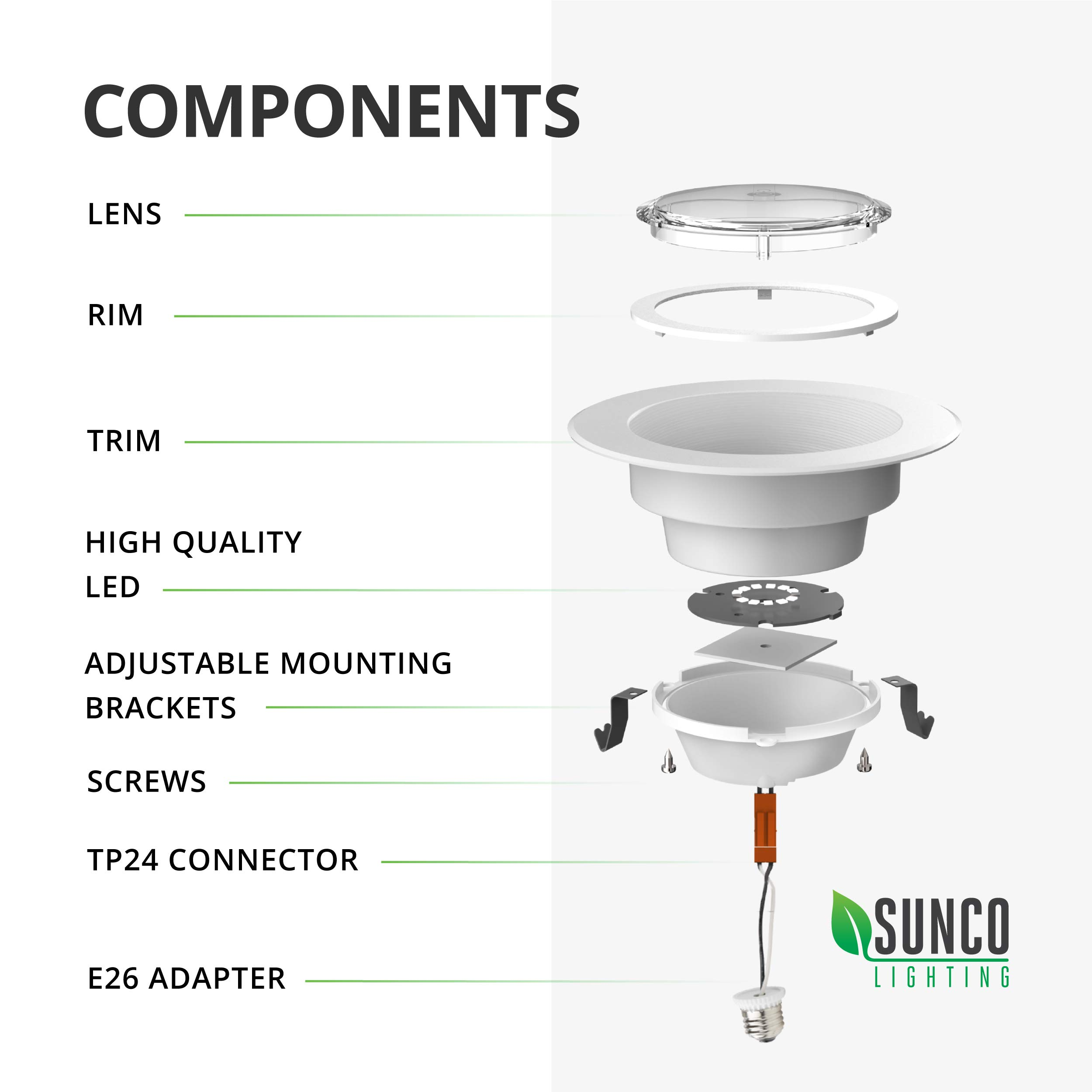 Sunco Lighting 10 Pack 4 Inch Baffle Recessed Retrofit Kit Dimmable LED Light, 11W (40W Replacement), 5000K Kelvin Daylight, Quick/Easy Can Install, 660 Lumen, Wet Rated by Sunco Lighting (Image #11)