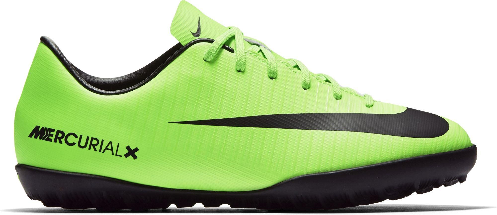 Nike Youth Soccer MercurialX Vapor XI Turf Shoes (2 Little Kid M, Electric GreenBlac/White) by NIKE