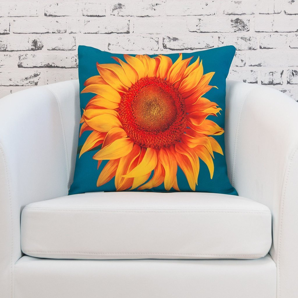 Sunburst Outdoor Living 24 x 24 SUMMER DAYS Sunflower Decorative Throw Pillow Cushion COVER ONLY for Couch, Bed, Sofa or Patio Only Case No Insert
