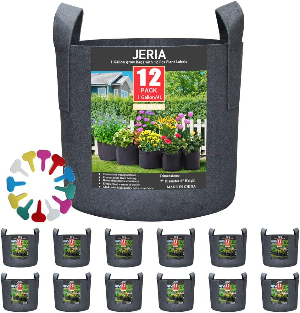 JERIA 12-Pack 1 Gallon, Vegetable Flower Plant Grow Bags, Aeration Fabric Pots with Handles Black , Come with 12 Pcs Plant Labels