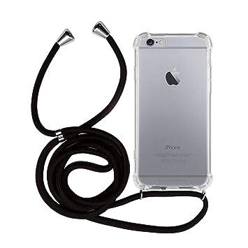 MyGadget Funda Transparente con Cordón para Apple iPhone 6 / 6s - Carcasa Cuerda y Esquinas Reforzadas en Silicona TPU - Case y Correa - Negro