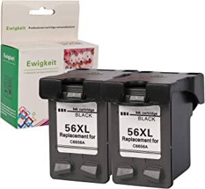 Remanufactured for HP 56 Ink Black Cartridge C6656AN with HP Officejt 4215 Deskjet 5850 5650 5150 5550 PSC 2210 2510 Photosmart 7150 7350 7260 7450 7550 7760 Printer (2 Black) by ewigkeit