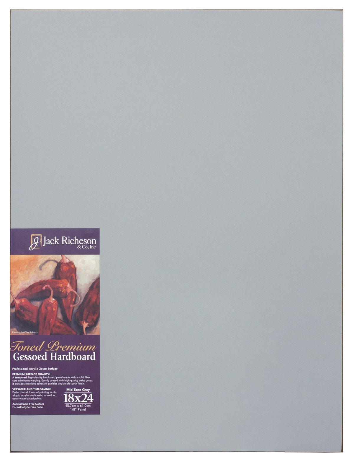 Jack Richeson Richeson Mid Grey Toned Gessoed 1/8'' Hardboard 18''x24'' by Jack Richeson