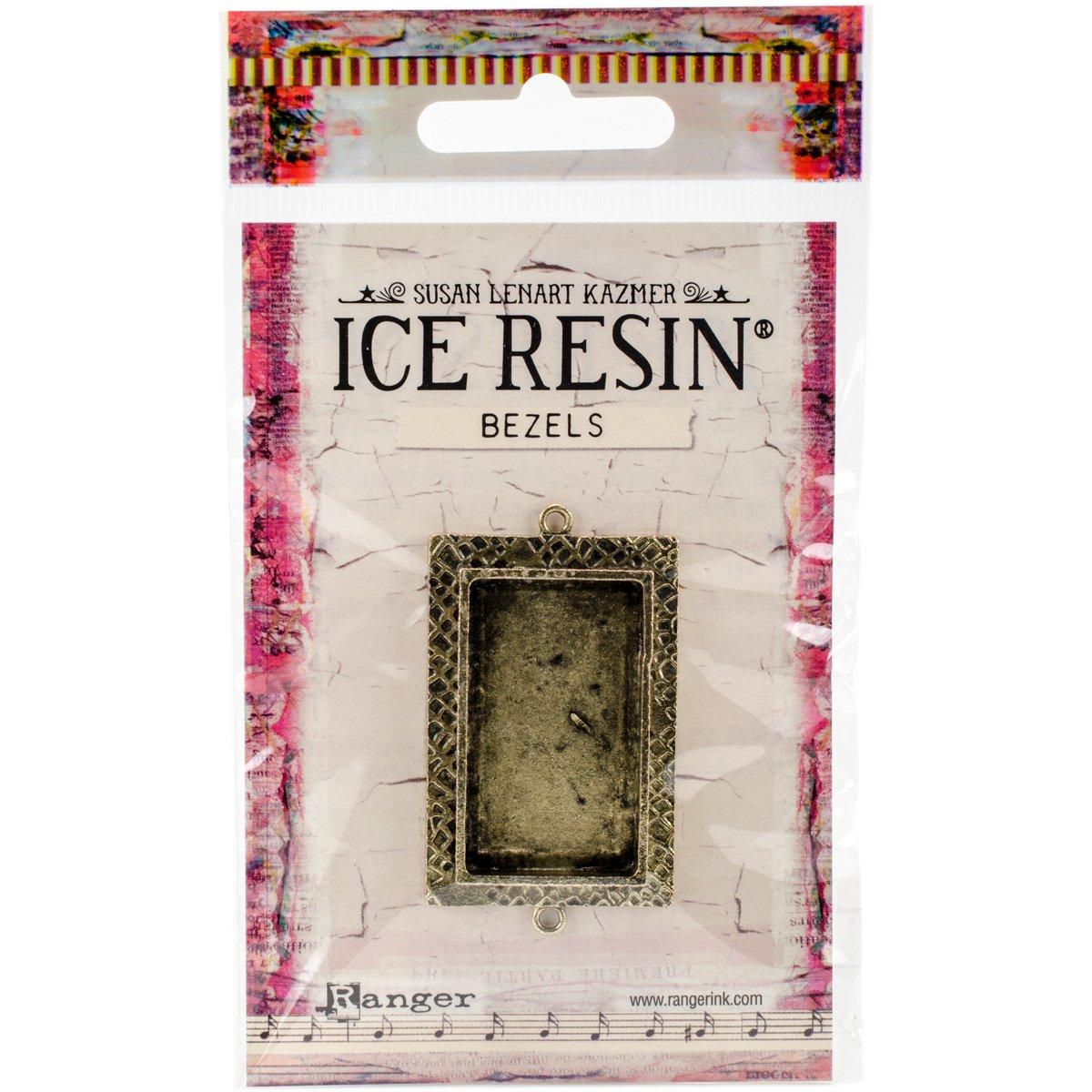 Ice Resin IRB50698 Milan Bezels Closed Back Rectangle Medium-Antique Bronze
