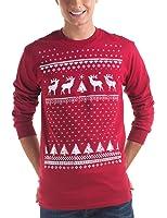 Retro Christmas Reindeer Long sleeved Jumper Style Top - Mens - Cardinal Red - Long Sleeved