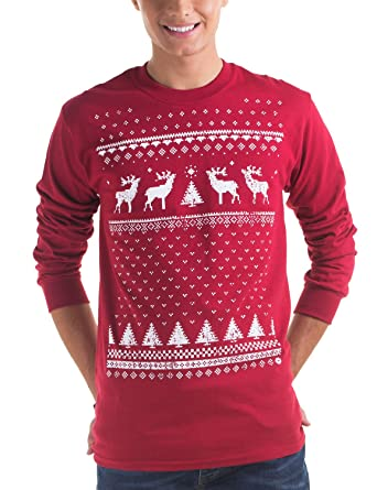 394965d4499 Jolly Clothing Retro Christmas Reindeer Long sleeved Jumper Style Top -  Mens - Cardinal Red - Long Sleeved  Amazon.co.uk  Clothing