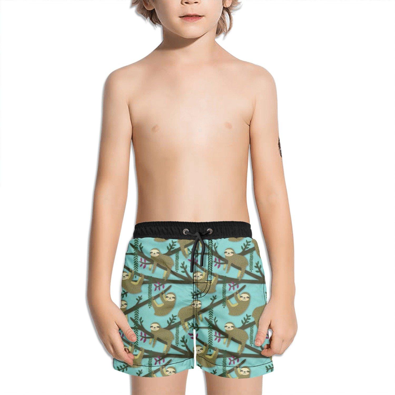 Juliuse Marthar Sloth Climbing Trees Fashion Swimming Trunks Short Quick Dry Summer Short for Children