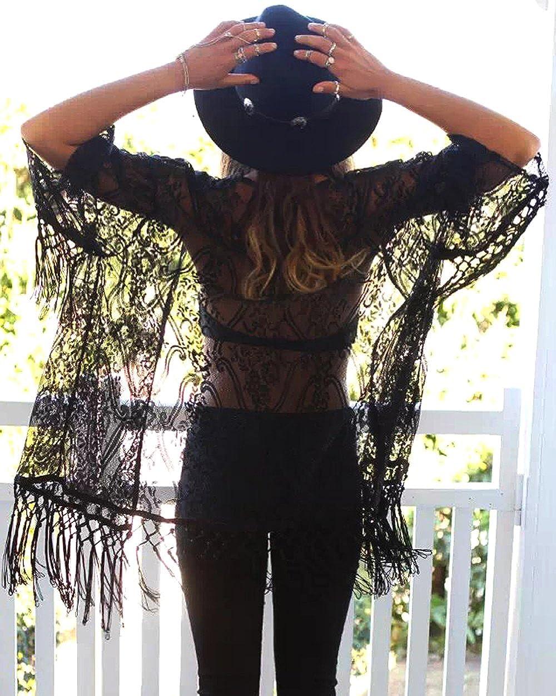 iMixCity Copricostume Mare Donna Pizzo Cardigan Kimono Vestito Exotic Vintage Boho Hippie Etnica Abito da Spiaggia con Nappe allUncinetto