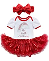 FEESHOW Infant Baby Girls Pumpkin First Halloween Costume Tutu Romper Headband Outfit Set