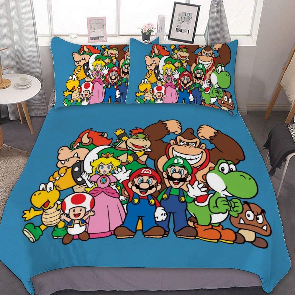 Harvey Rhodes Mario Bros. Luigi Yoshi Princess Peach Donkey Kong,Comforter Set Full,3 Piece Bed Sets,Ultra Soft Microfiber Unisex Bedding Set Modern Pattern Printed