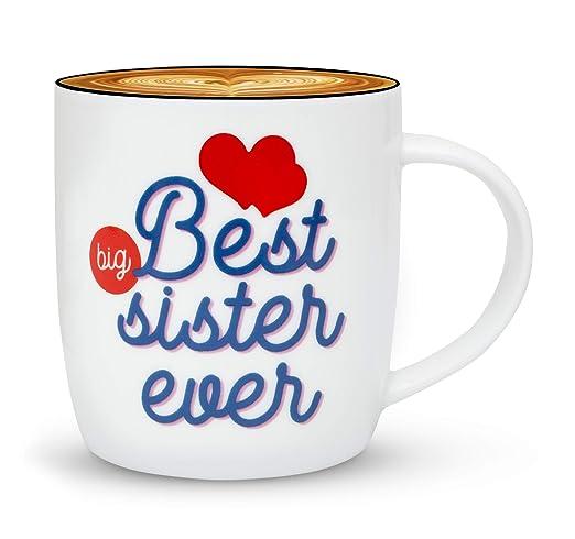Gifffted Mejor Hermana Grande Taza, Divertido Regalo Cumpleaños, Hermana, Cerámico, 380 Ml