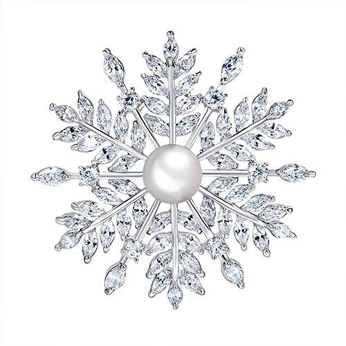 Broche Hanie plateado de flor y perla, con circonitas blancas, elementos de cristal Swarovski, gran calidad, ideal para regalo en invierno