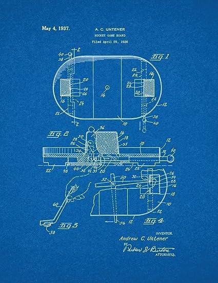 amazon com hockey game board patent print art poster blueprint 11