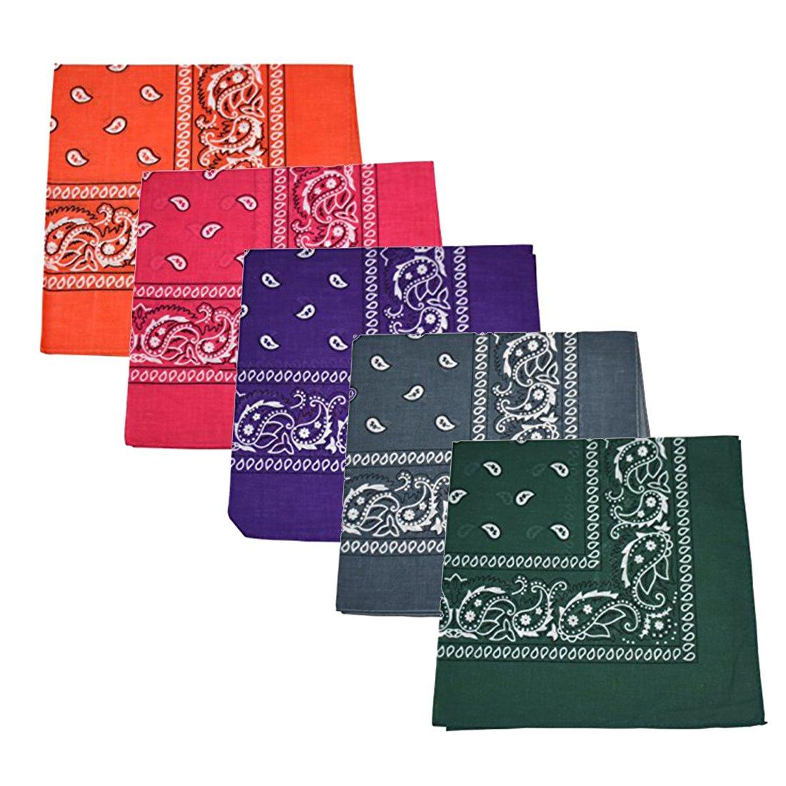 Set of 5 Large Cotton Paisley Bandanas - Dark Orange Hot Pink Hunter Green Purple Dark Grey