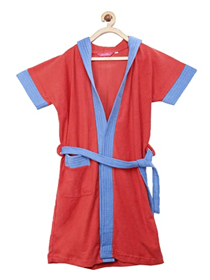f2264aef76 Sand Dune - Cherry Red Color with Blue Border Kids Hood Bathrobe for Girls  - 100