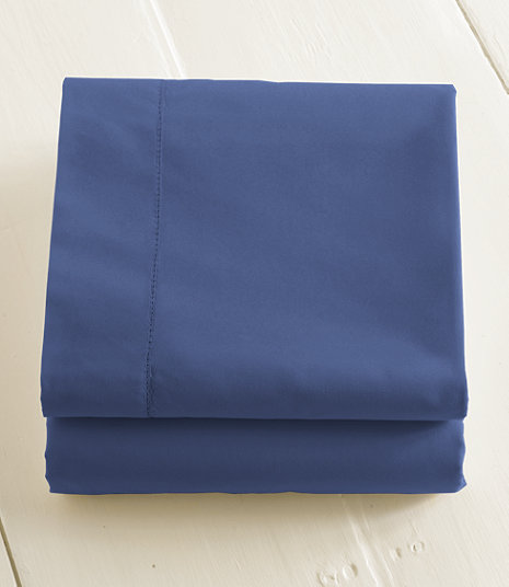 280-Thread-Count Pima Cotton Percale Sheet, Flat | Size: King, Color: Mid-Blue