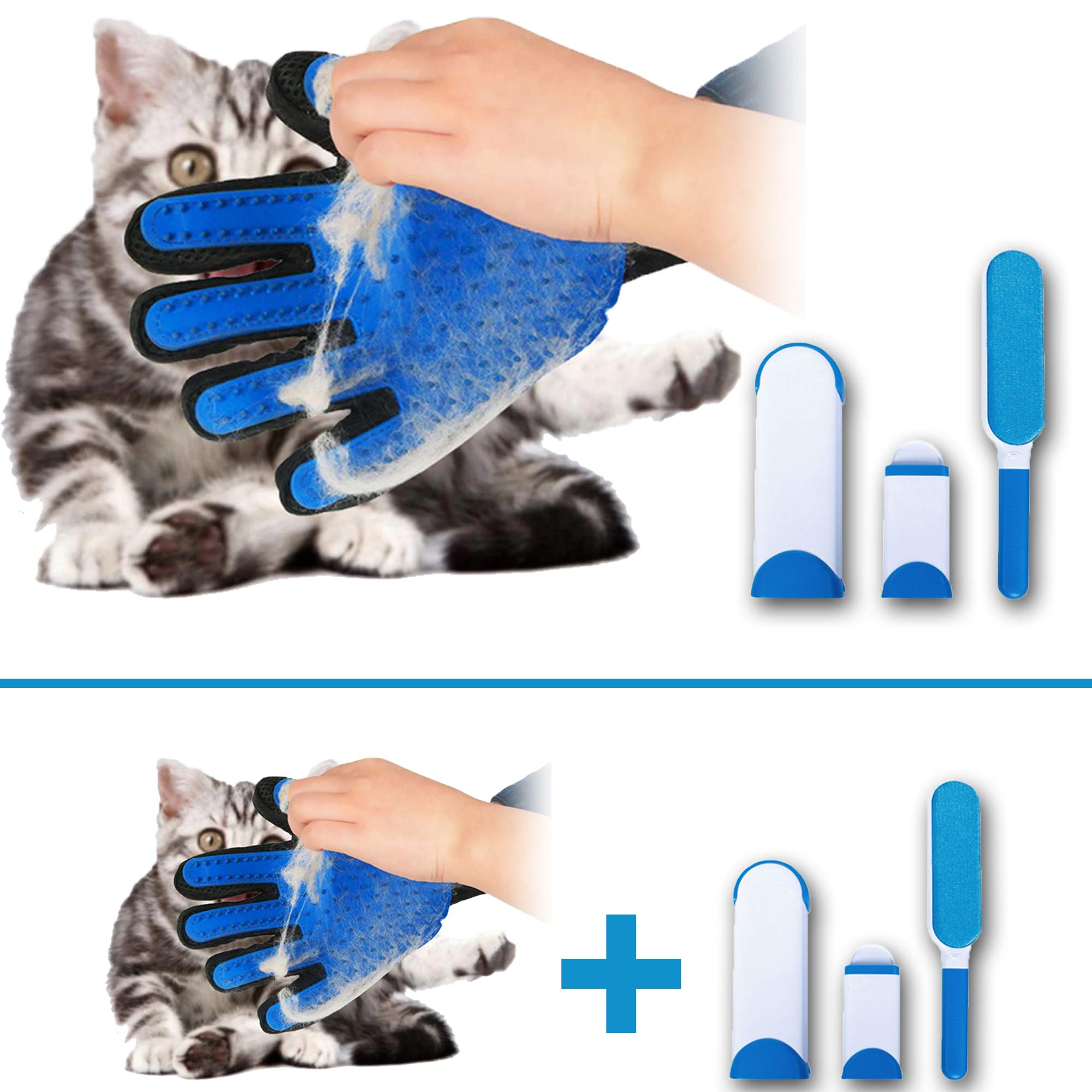 Pet Hair Remover for Furniture and Lint Remover by dogcute-net - Reusable Double Sided Brush   Pet Grooming Glove - Enhanced Five Finger Design
