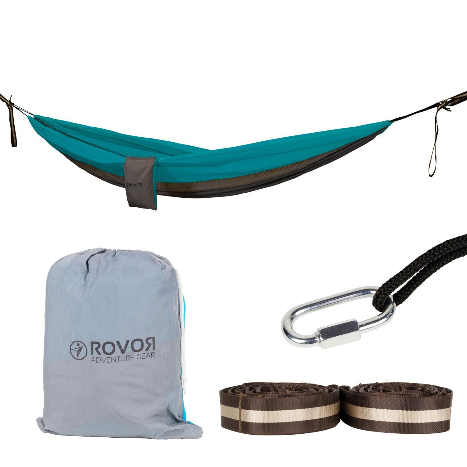 Includes Tree Hammock Straps and Carabiners Makes a Great 2 Person Camping Hammock Rovor Adventure Gear ROVOR Chill-Onne Double Hammock with Quadruple Stitching