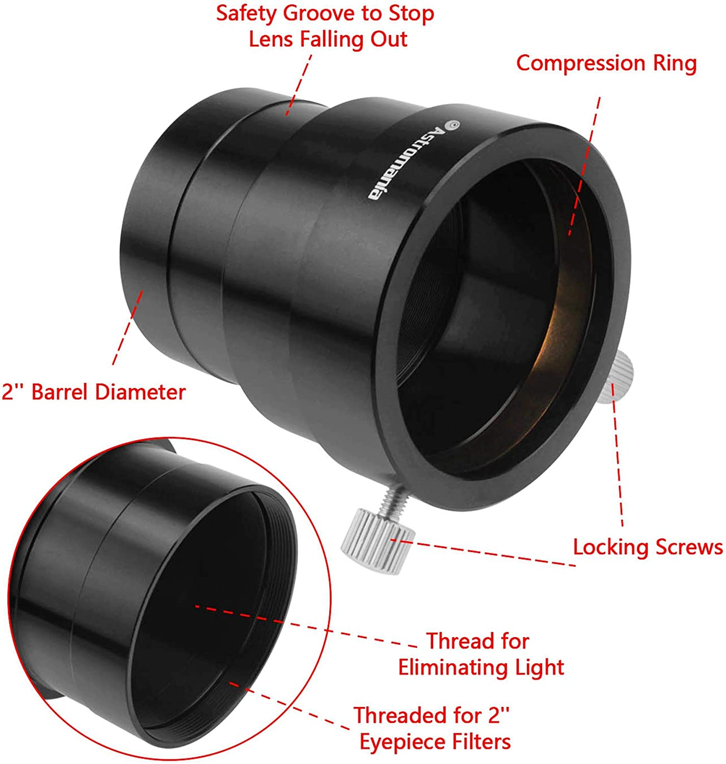 Durable Aluminum Alloy Thread Eyepiece Mount 2inch SCT Telescope Compression Ring Adapter Pomya Telescope Extension Tube for Camera