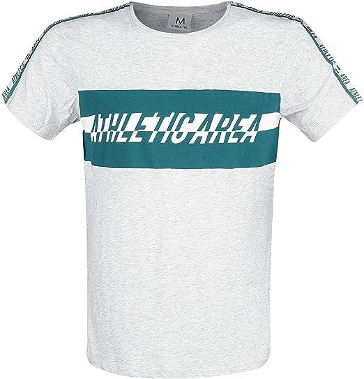 Sublevel Athletic Area Hombre Camiseta Gris Claro S, 98% algodón, 2% Viscosa, Regular: Amazon.es: Ropa y accesorios