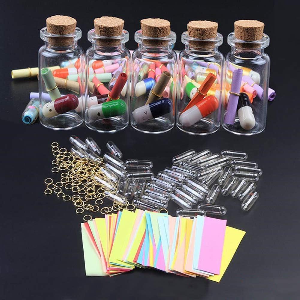 STOBOK Messaggio in Una Bottiglia Mini Capsula a Forma di Pillola Che Desiderano Bottiglie con Carta Plastica Trasparente Colorato Amore Amicizia Regalo 100 Pezzi
