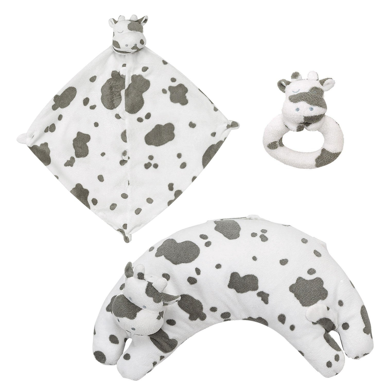 Angel Dear Blankie, Ring Rattle and Curved Pillow Set (Cow)