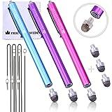 The Friendly Swede ペン先交換式 マイクロニットスタイラスペン 3本セット 交換用ペン先3個+携帯用ストラップ2本+マイクロファイバークリーニングクロス付き (ピンク+ライトブルー+パープル)