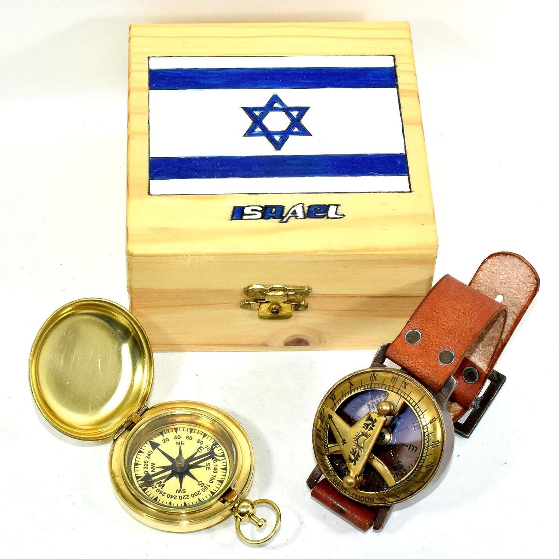 アンティークスチームパンク手首真鍮コンパス& sundial-watch with真鍮コンパス B079Z63BQP