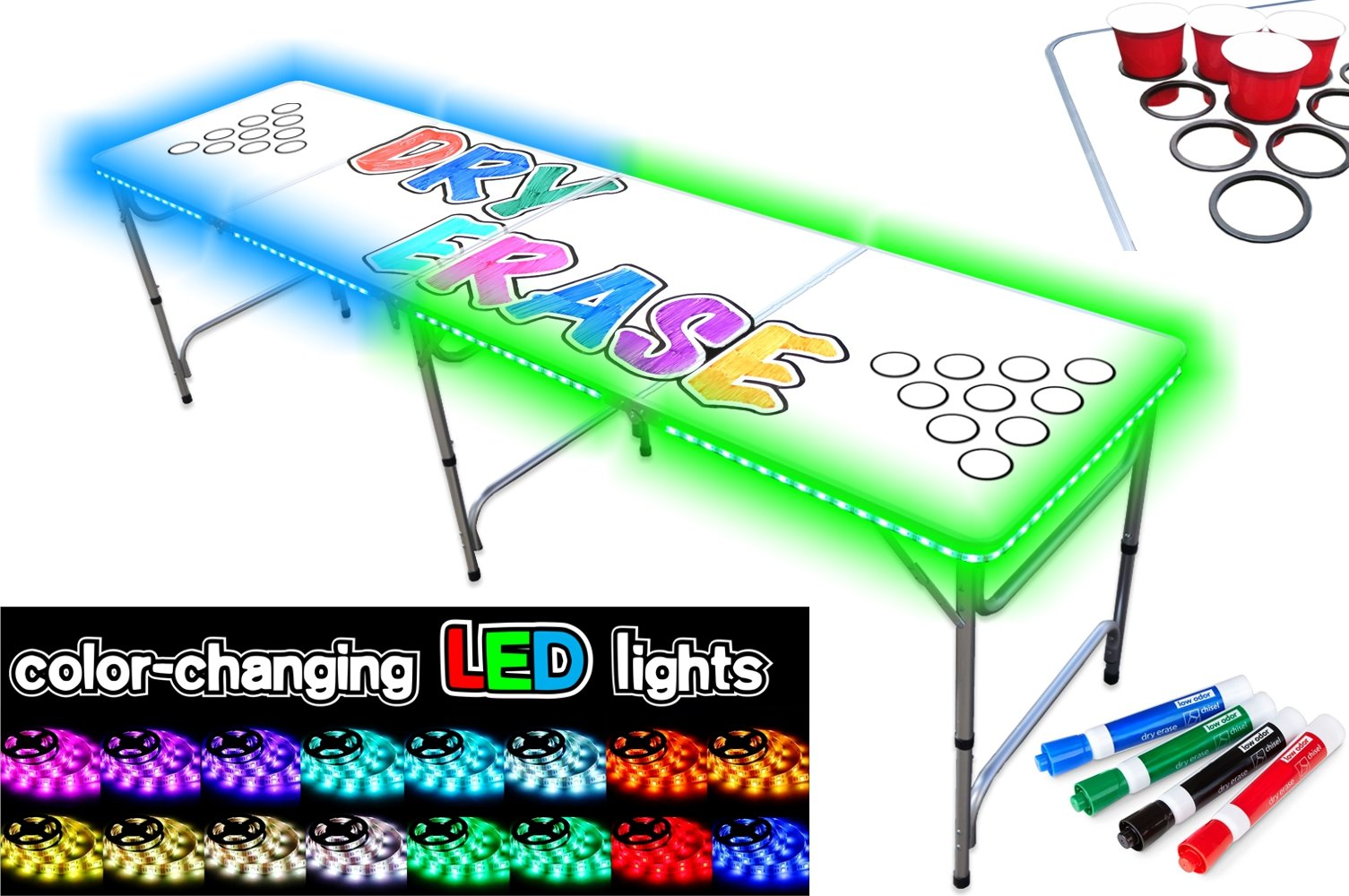 PartyPongTables.com 8-Foot Beer Pong Table with Cup Holes, LED Glow Lights, Dry Erase Surface & Markers