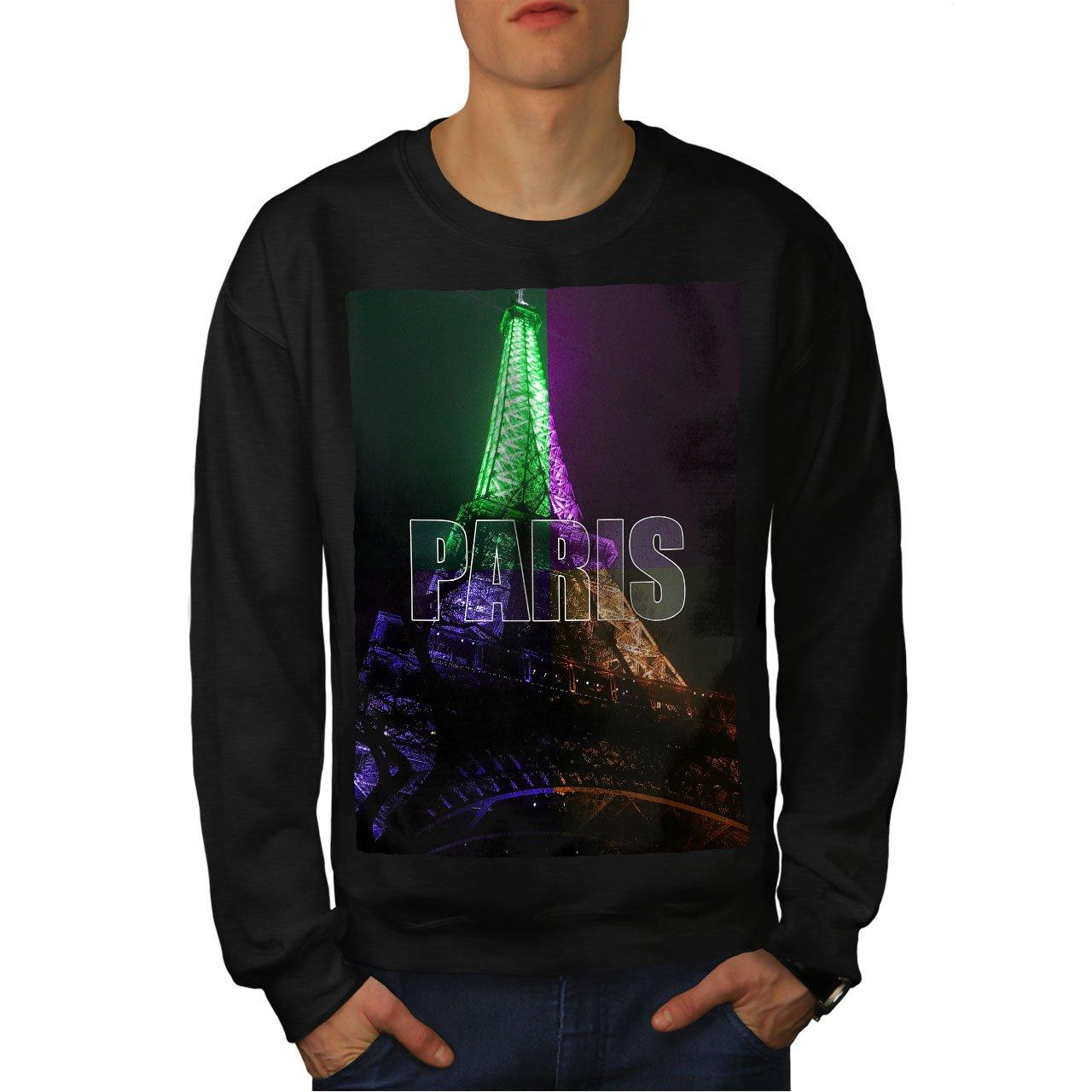 wellcoda Paris Photo Night Mens Sweatshirt Night Casual Jumper