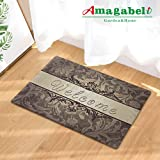 Rubber Doormat Indoor Low Profile Non-Slip Washable Welcome Mat for Front Porch Entrance Shoe Scraper Absorbent Decor Office Hall Entry Floor Mat Inside Bedroom Carpet Home Kitchen Rug 1830