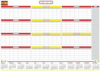 ESPAÑA 2017 CALENDARIO Extra Grande en seco y mojado borrable Sin fecha Planificador anual con Meses Cotizadas. 140x100CM (ESPAÑA): Amazon.es: Oficina y papelería