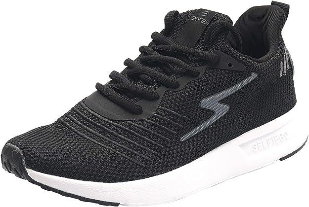 SelfieGo - Zapatillas de deporte para hombre, transpirables, para correr, fitness (un par de plantillas adicionales), color Negro, talla 43 EU: Amazon.es: Zapatos y complementos
