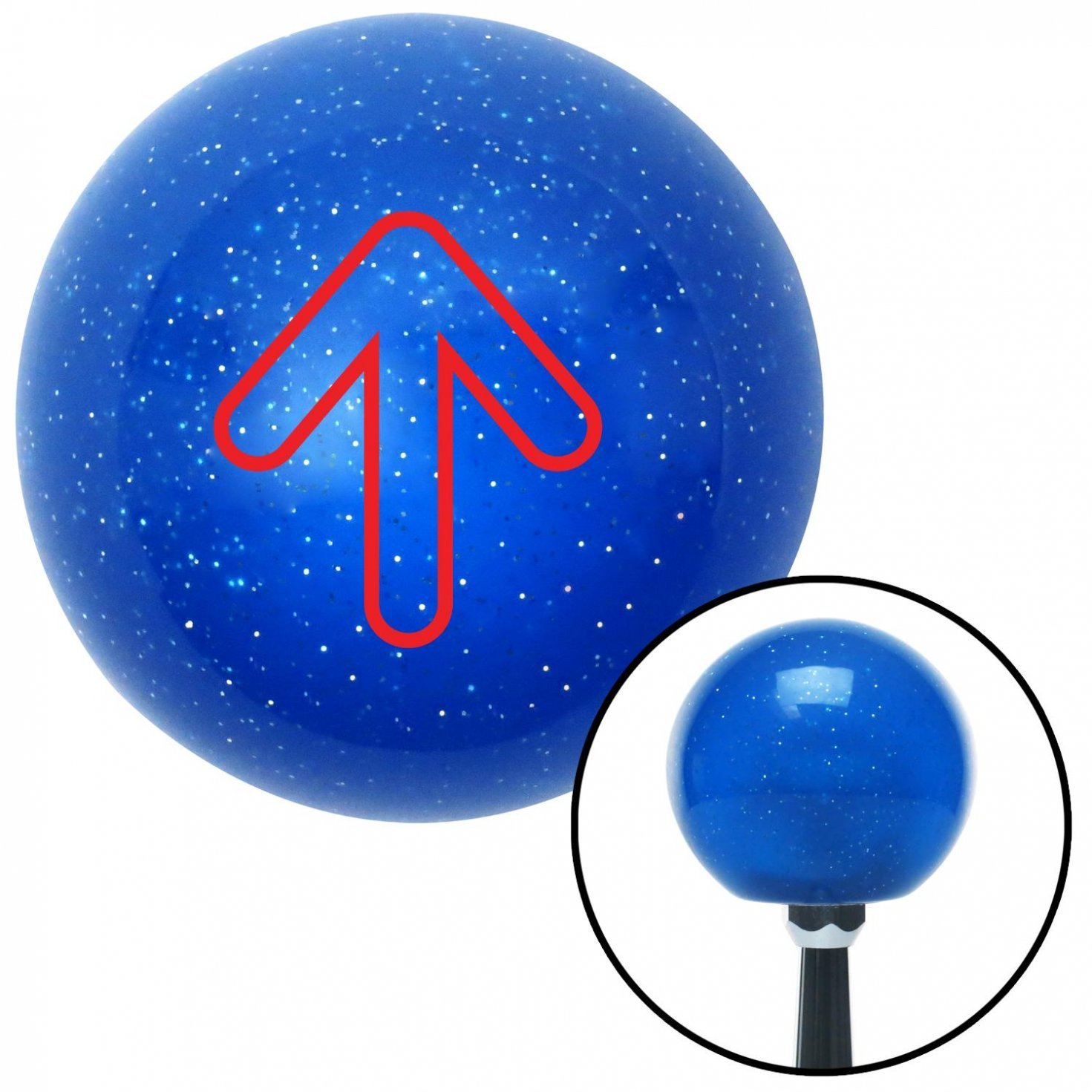 American Shifter 22102 Blue Metal Flake Shift Knob with 16mm x 1.5 Insert Red Bubble Directional Arrow Up