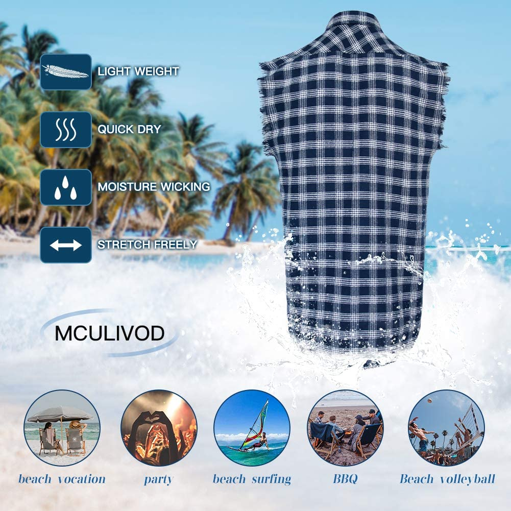 Sleeveless Plaid Front Shirt for Men, Cowboy Button Down Shirts at  Men's Clothing store