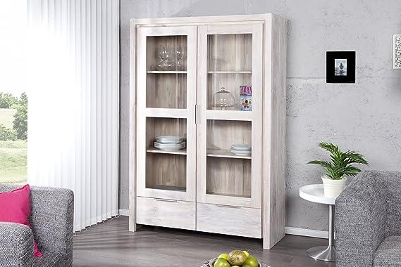 Massive vitrina ODIN RAW 190 cm madera de roble blanco encalados encerada 2 puertas correderas de cristal: Amazon.es: Hogar