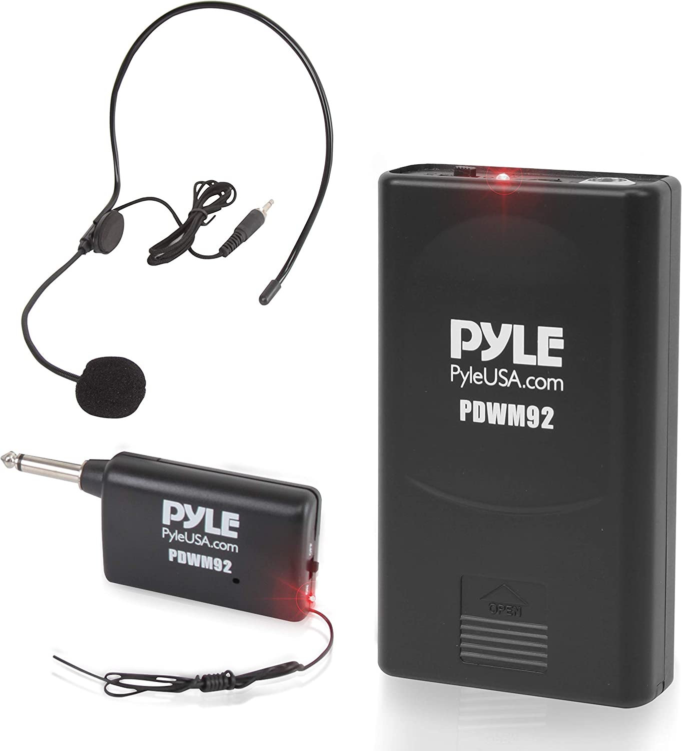Portable VHF Wireless Microphone System - Professional Battery Operated Headset Lapel Lavalier Cordless Microphone Set W/Beltpack Transmitter, Adapter Receiver, for PA Karaoke DJ Party - Pyle PDWM92