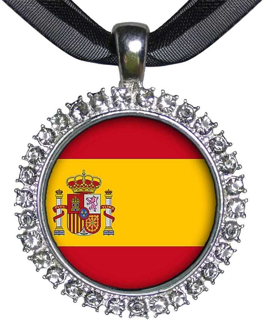 GiftJewelryShop placa de plata de la bandera de España blanco colgante de cristal: Amazon.es: Hogar