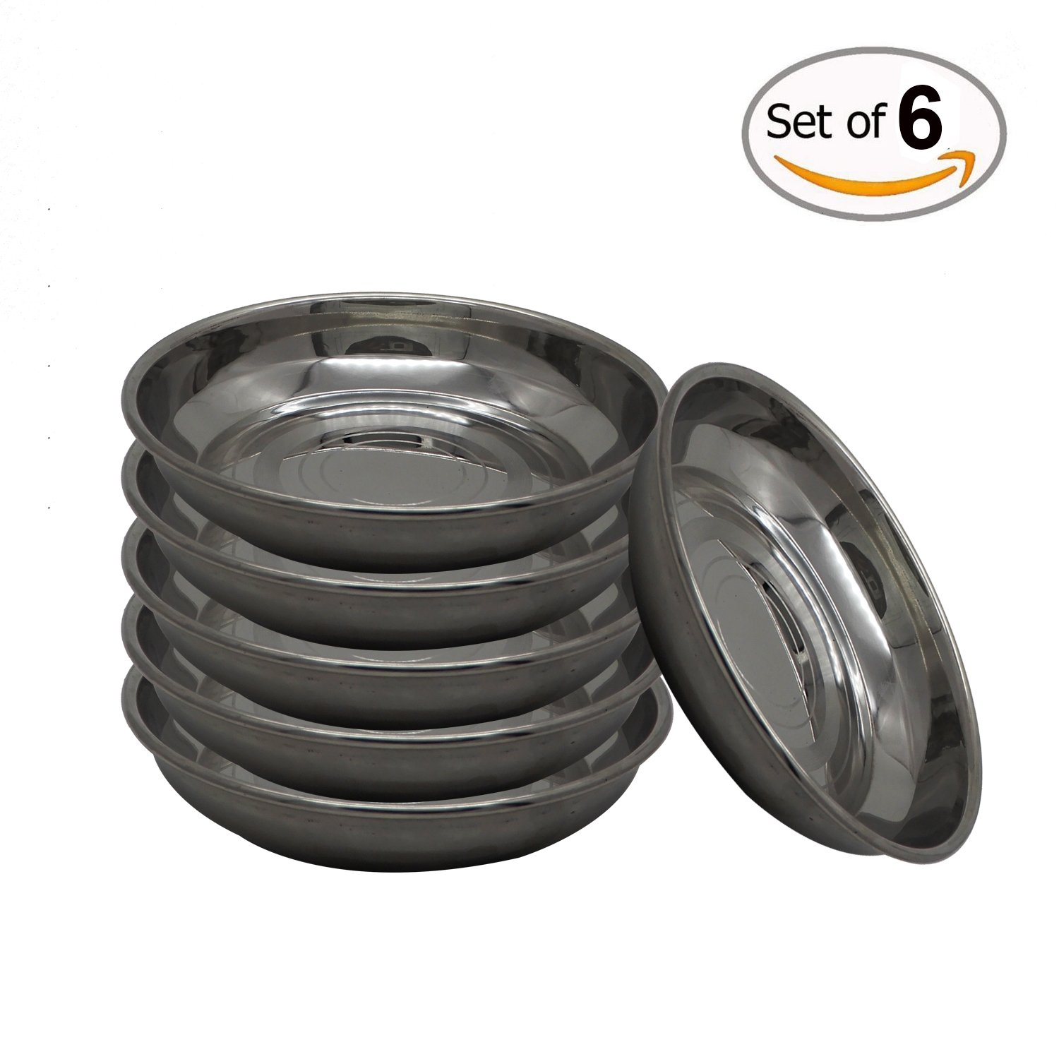 WhopperIndia Stainless Steel Dinner Plate Dish Food Holder Container Plates, Pack of 6 Size 4.5 Inch