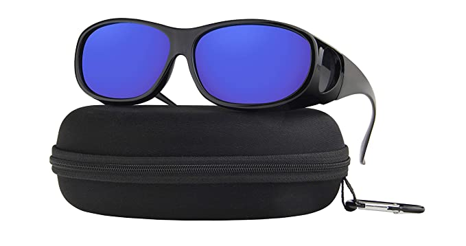 bfaa246fe407 Amazon.com  Fit Over Sunglasses Polarized Lens Case Included Wear Over  Prescription Eyeglasses 100% UV Protection for Men and Women Blue Mirror  Lens  ...