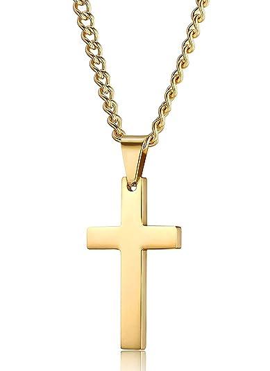 6315c03930ee Jstyle Joyería de Acero Inoxidable Colgante Cruz Dorado para Mujeres y  Hombres Collar Largo 56CM  Amazon.es  Joyería